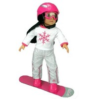 Doll Snowboard Set Fit for 18 Inch Dolls and American Girl Dolls, Doll Accessory Set Includes; Doll Goggles, Doll Helmet & Snowboard, Doll and Doll Clothes Are Not Included, Doll Furniture