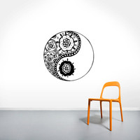 Wall Decal Vinyl Sticker Decals Art Home Decor Murals Yin Yang Symbol Floral Patterns Ornament Geometric Chinese Asian Religious Decal AN571