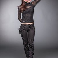 Black pants with pocket and bondages | Long Trousers | Trousers | Women | Queen Of Darkness