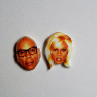 RuPaul Earrings Celebrity Studs Before and After Drag Race Funny Novelty Gift