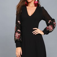 Holly Black Embroidered Long Sleeve Dress