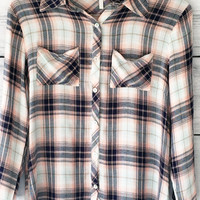 3/4 Sleeve Plaid Button Down Shirt