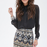 FOREVER 21 Tribal-Inspired Sequin Skirt Black/Multi