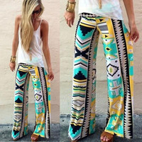 Women's Soft Oversize Bohemian Loose Palazzo Trousers Totem Print Casual Pants Elastic High Waist Pants
