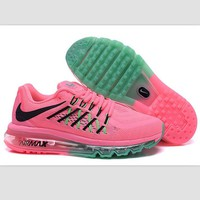 NIKE Trending AirMax Behind the hook section rainbow knited line Fashion Casual Sports Shoes Pink black hook (pink green soles)