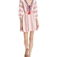 Piper Ramones Embroidered Lace-Up Dress   Bloomingdales's