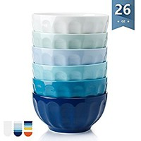 Sweese 1112 Porcelain Fluted Bowls - 26 Ounce for Cereal, Soup and Fruit - Set of 6, Cool Assorted Colors