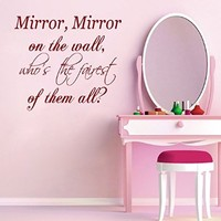 Wall Decals Vinyl Decal Sticker Family Quote Mirror Mirror on the Wall Who's the Fairest of Them All Home Interior Design Fashion Girl Beauty Salon Living Room Bedroom Decor