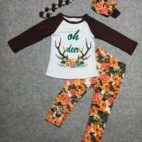 floral pant clothes girls oh deer outfits with accessoreis