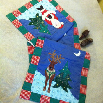 Christmas Table Runner Vintage Quilted Santa Claus Tree Reindeer Table Decor Handmade Cotton Fabric Dining Kitchen Accent Holiday Decor OOAK