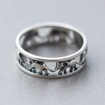 Retro Hollow Out Elephant Ring Sterling Silver Cute Tail Rings + Free Gift Box