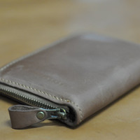 Genuine Leather wallet with lagre zipper-Men wallet-Money clip-Gray Leather purce