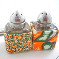 Personal mini salt and pepper set orange, green, brown unique polymer clay