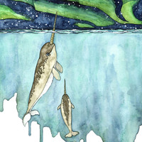 """Watercolor Narwhal Painting - Print titled, """"Northern Lights"""", Narwhal, Narwhal Print, Whale Nursery, Whale Art, Whale Print, Narwhal Baby"""