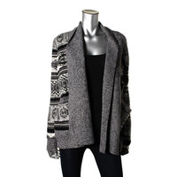 Jack Womens Cable Knit Marled Cardigan Sweater