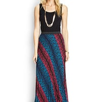 LOVE 21 Pleated Woven Maxi Skirt Black/Blue