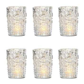 6 Pack   Vintage Mercury Glass Candle Holder (4-Inch, Fleur Design, Flower Motif, Silver) - For Home Decor, Party Decorations and Wedding Centerpieces
