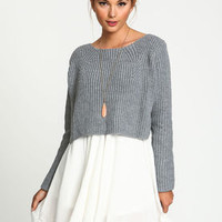 Grey Cropped Knit Sweater Top - LoveCulture