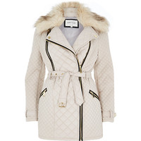 River Island Womens Beige quilted long biker jacket