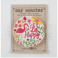Natural Life Car Coaster - Be Happy