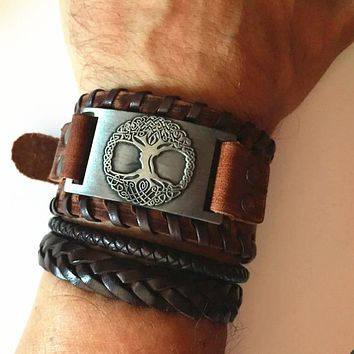 Skyrim Viking Tree of Life Vintage Wrap Wicca Metal Leather Bracelet Amulet Adjustable Cuff Bracelet Vintage Jewelry Men