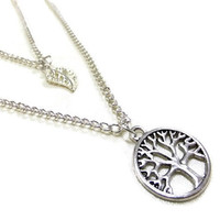 Layered Tree of Life Necklace with Silver Leaf, Silver Tree Necklace, Silver Leaf Necklace, Layer Necklace, Boho Necklace, Tree and Leaf