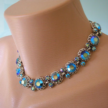 Peacock Blue Choker, Necklace and Earring, Aurora Borealis, Blue and Green, Bridal Necklace, Prom, Demi Parure, Peacock Rhinestone