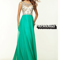 Open Back Chiffon Flowing A-line Paparazzi Prom Dress By Mori Lee 97033