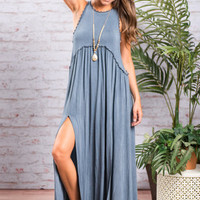 Flower Child Maxi Dress, Denim Blue