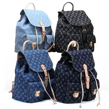 LV hot selling fashionable lady denim printed casual shopping bag backpack