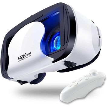 VR Headset Virtual Reality Glasses Compatible with Phone & Android New Goggles for Movies Compatible 5-7inch Soft & Comfortable Adjustable Distance[with Remote]