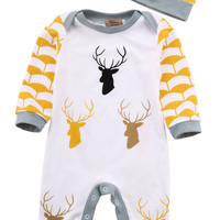 2016 Autumn Winter Cute deer Baby Boys Rompers One Piece Long Sleeve Jumpsuits Cotton Newborn Infant Costume With Hat Clothing