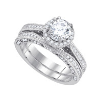 Diamond Bridal Ring with 1.00ct Center Round Stone in 14k White Gold 1.73 ctw