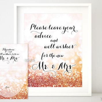 Please leave your advice and well wishes for the new Mr & Mrs in rose gold glitter