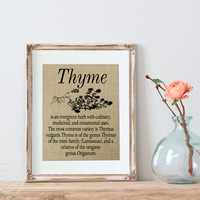 Thyme , Herb Prints, Kitchen Sign on Burlap, Kitchen Decor, Home Decor, Herbalist, Herbal Print, Herbal Art Prints, Kitchen Prints, Herbs