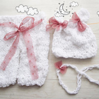 Newborn knit pants and hat set, Baby Girl Photo Props, Pants and Hat and Headband set, Photo Prop Pants