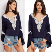 V-Neck Lace Loose Tops B0014317