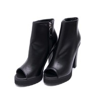 Womens Peep Toe Zip Shoe Boots at Fabrixquare
