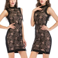 Fashion women's sleeveless summer embroidered fringed sequined dress