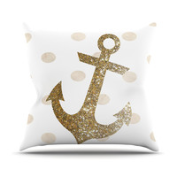 "Nika Martinez ""Glitter Anchor"" Gold Sparkles Throw Pillow"