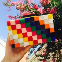 Perspective Acrylic Geometric Cube Clutch Hasp Fashion Wedding Party Purse