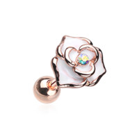 Golden White Rose Sparkle Cartilage Helix Tragus Earring 18ga Surgical Steel Body Jewelry