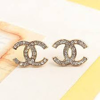 Limited Edition Gold CC Stud Earring with Clear White Crystal
