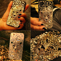 Ambition Leopard Handmade Rhinestone Case For Iphone 4/4s/5
