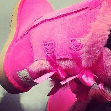 UGG Fashion Winter Women Cute Bowknot Flat Warm Snow Ankle Boots-14
