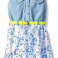 Girls Rule Little Girls Dress Floral Denim Hi-Low, Denim, 5