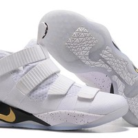 Nike LeBron Soldier 11 EP White/Gold Basketball Shoes US7-12