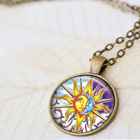 Sun And Moon Necklace, Celestial Necklace, Gypsy Jewelry, Hippie Necklace, Sun Necklace, Moon Necklace