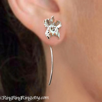 Long Stem Orchid Flower Earrings, Sterling Silver Dangle Earrings, Unique Gift Floral Jewelry For Her