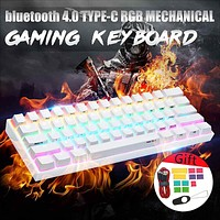 LEORY Mechanical Keyboard wireless bluetooth 4.0 Type-C RGB Mechanical Gaming Keyboard